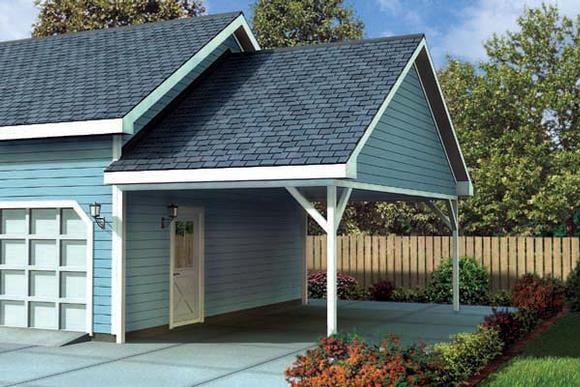 Ranch, Traditional 1 Car Garage Plan 6023 Elevation