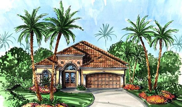 Mediterranean House Plan 60762 with 3 Beds, 4 Baths, 2 Car Garage Elevation