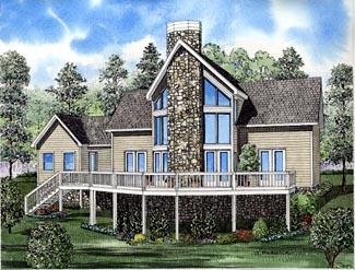 A-Frame, Coastal, Contemporary House Plan 61290 with 2 Beds, 2 Baths, 1 Car Garage Elevation