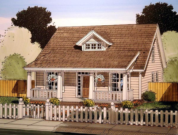 Cabin, Cape Cod, Southern House Plan 61405 with 3 Beds, 3 Baths Elevation