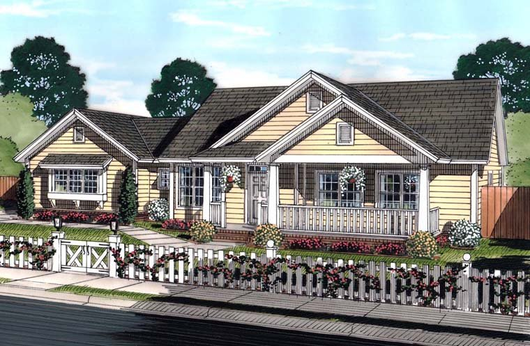 Ranch, Traditional House Plan 61444 with 4 Beds, 3 Baths, 3 Car Garage Elevation
