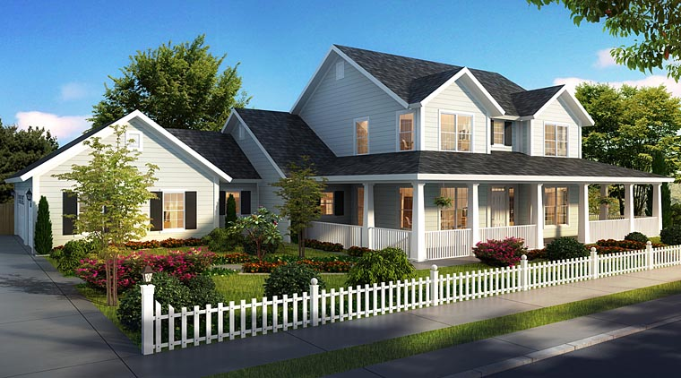 Cape Cod, Country, Farmhouse, Southern House Plan 61470 with 4 Beds, 4 Baths, 3 Car Garage Elevation