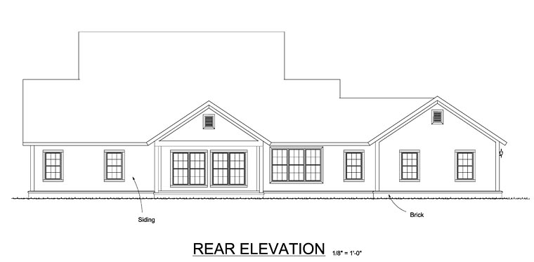Cape Cod, Country, Farmhouse, Southern House Plan 61470 with 4 Beds, 4 Baths, 3 Car Garage Rear Elevation