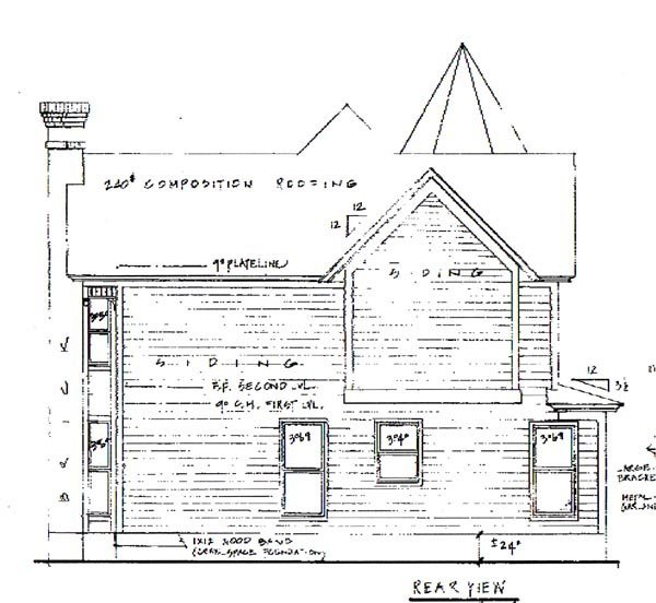 Victorian House Plan 62408 with 3 Beds, 3 Baths Rear Elevation