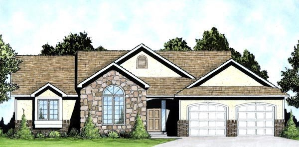 Traditional House Plan 62614 with 3 Beds, 2 Baths, 3 Car Garage Elevation