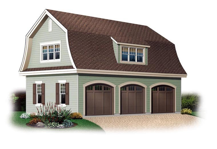 3 Car Garage Plan 64821 Elevation
