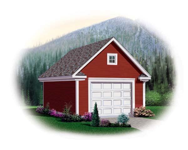 1 Car Garage Plan 64833 Elevation