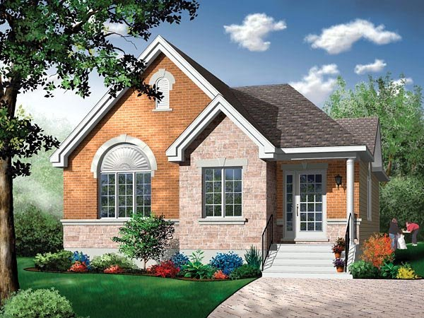 Narrow Lot, One-Story, Traditional House Plan 65352 with 4 Beds, 1 Baths Elevation