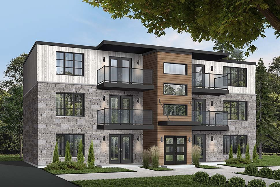 Contemporary Multi-Family Plan 65533 with 12 Beds, 6 Baths Elevation