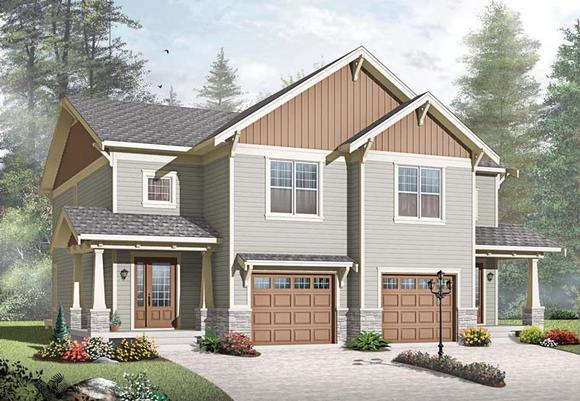 Craftsman Multi-Family Plan 65559 with 6 Beds, 4 Baths, 2 Car Garage Elevation