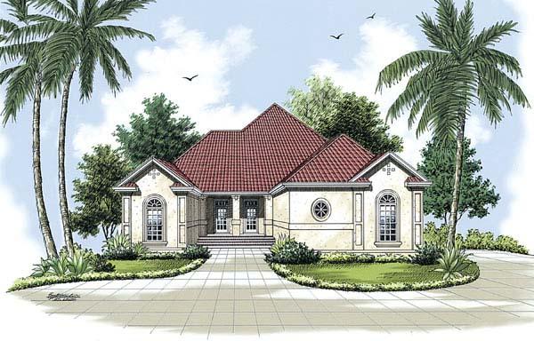 Florida, Mediterranean House Plan 65602 with 3 Beds, 2 Baths, 2 Car Garage Elevation