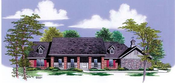 Farmhouse, One-Story House Plan 65782 with 4 Beds, 3 Baths, 2 Car Garage Elevation
