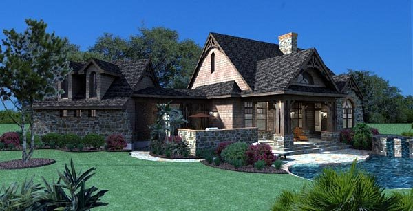 Cottage, Craftsman, Tuscan House Plan 65866 with 3 Beds, 3 Baths, 2 Car Garage Picture 4