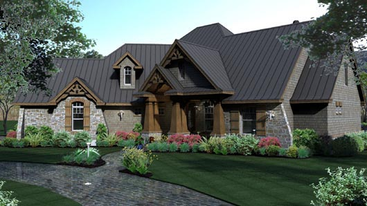 Cottage, Craftsman, Tuscan House Plan 65869 with 3 Beds, 3 Baths, 3 Car Garage Picture 2