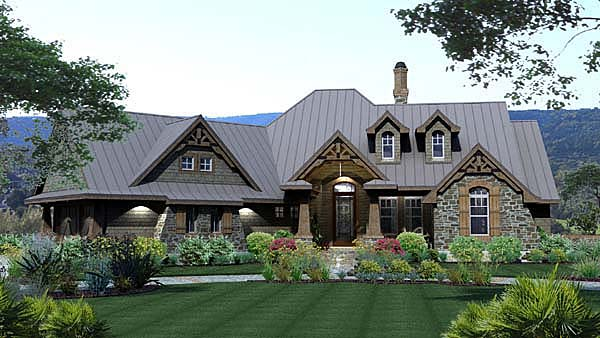 Craftsman, Tuscan House Plan 65871 with 3 Beds, 3 Baths, 2 Car Garage Elevation
