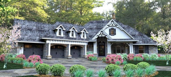 Cottage, Country, Craftsman, Traditional, Tuscan House Plan 65877 with 3 Beds, 3 Baths, 3 Car Garage Picture 1