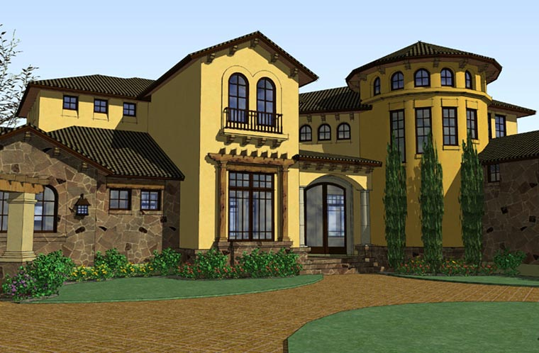 Italian, Mediterranean, Traditional House Plan 65882 with 5 Beds, 6 Baths, 3 Car Garage Elevation