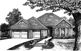 One-Story, Traditional House Plan 66103 with 4 Beds, 3 Baths, 3 Car Garage Elevation