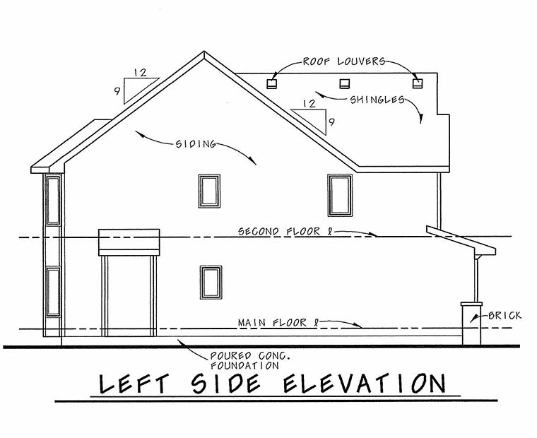 Traditional House Plan 66636 with 4 Beds, 3 Baths, 2 Car Garage Picture 2