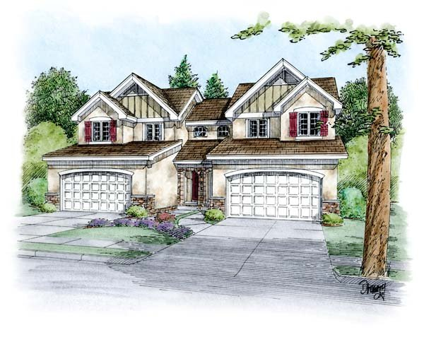 Country, European Multi-Family Plan 66649 with 6 Beds, 6 Baths, 4 Car Garage Elevation