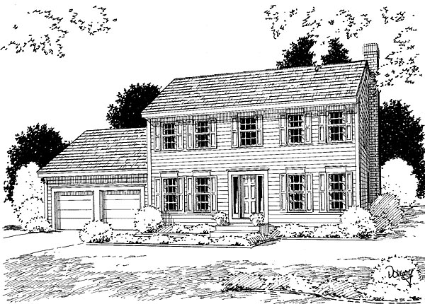 Colonial House Plan 67251 with 3 Beds, 3 Baths, 2 Car Garage Elevation
