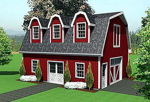 1 Car Garage Plan 67302 Elevation