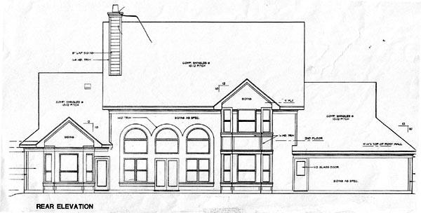 European House Plan 67414 with 4 Beds, 4 Baths, 2 Car Garage Rear Elevation