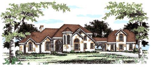 European House Plan 67417 with 4 Beds, 4 Baths, 2 Car Garage Elevation