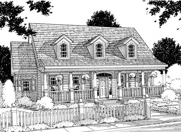Cape Cod, Country, Southern House Plan 68147 with 4 Beds, 4 Baths, 2 Car Garage Elevation