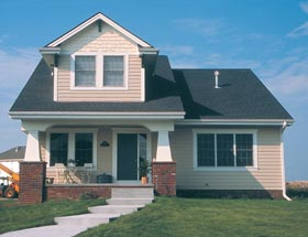 Bungalow, Narrow Lot House Plan 68191 with 3 Beds, 3 Baths, 2 Car Garage Elevation