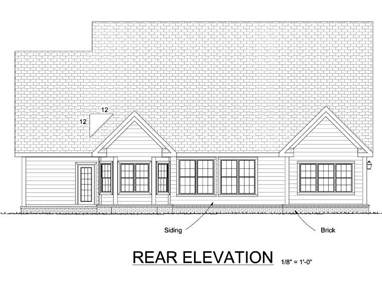 Cape Cod, Country House Plan 68504 with 4 Beds, 4 Baths, 3 Car Garage Rear Elevation