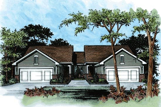 Traditional Multi-Family Plan 68713 with 4 Beds, 4 Baths, 4 Car Garage Elevation