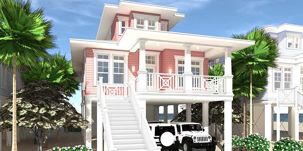 Coastal, Contemporary, Southern House Plan 70852 with 3 Beds, 2 Baths, 2 Car Garage Picture 1