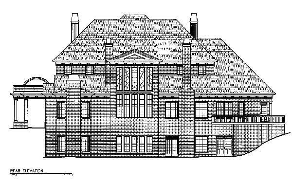 Greek Revival House Plan 72107 with 5 Beds, 7 Baths, 3 Car Garage Rear Elevation