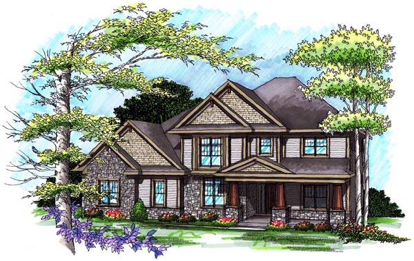 Traditional House Plan 72995 with 4 Beds, 4 Baths, 3 Car Garage Elevation