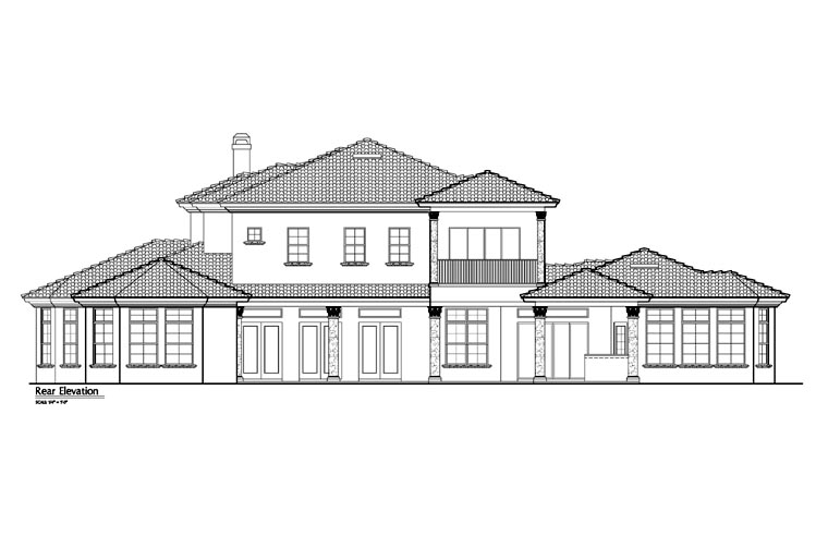 Mediterranean, Southwest House Plan 74243 with 5 Beds, 6 Baths, 4 Car Garage Rear Elevation