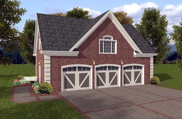 3 Car Garage Plan 74801 Elevation