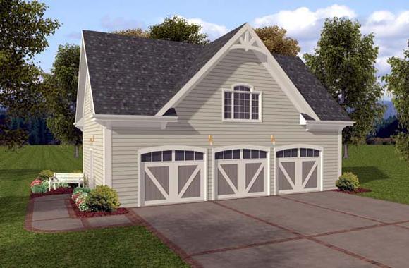 3 Car Garage Plan 74802 Elevation