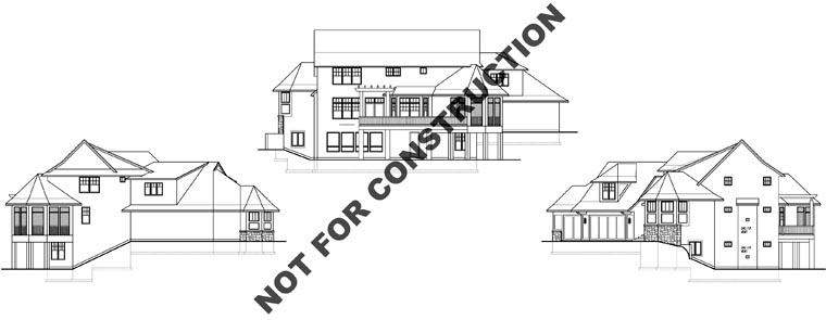 Craftsman House Plan 74828 with 4 Beds, 5 Baths, 3 Car Garage Rear Elevation