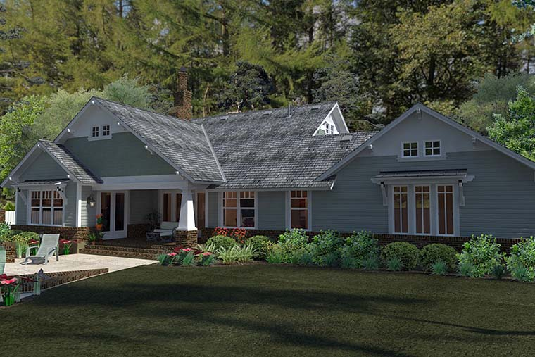 Bungalow, Cottage, Craftsman House Plan 75137 with 3 Beds, 2 Baths, 2 Car Garage Rear Elevation