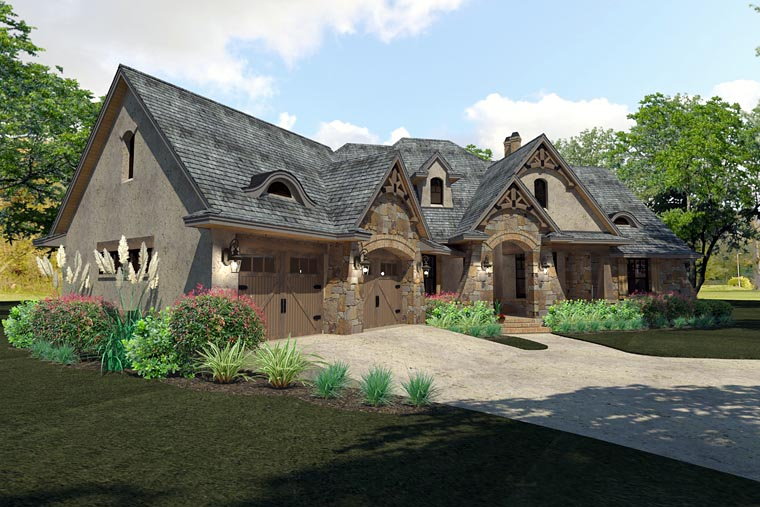 Craftsman, Traditional, Tuscan House Plan 75144 with 3 Beds, 3 Baths, 2 Car Garage Picture 2