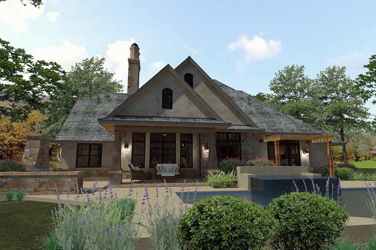 Craftsman, Traditional, Tuscan House Plan 75144 with 3 Beds, 3 Baths, 2 Car Garage Rear Elevation