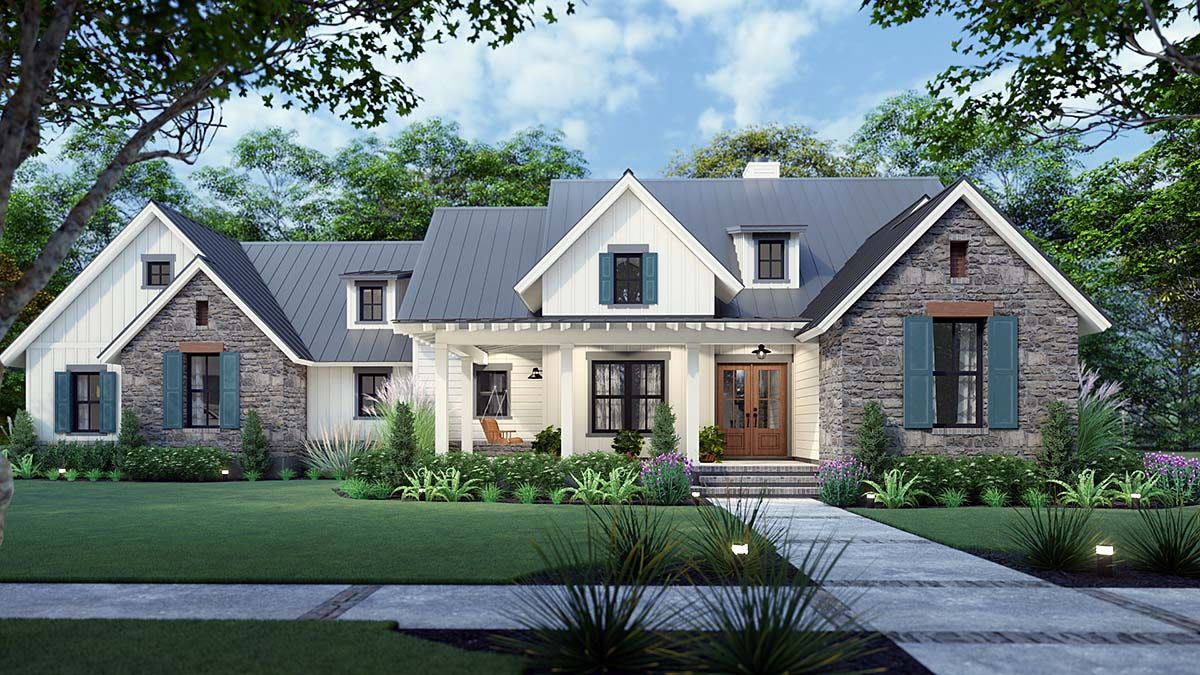 House Plan 75167 - Southern Style with 1742 Sq Ft, 3 Bed, 2 Bath, 1 Half  Bath