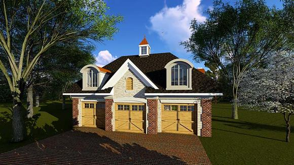 3 Car Garage Plan 75252 Elevation