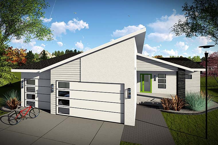 Contemporary, Modern, Ranch House Plan 75426 with 3 Beds, 2 Baths, 3 Car Garage Elevation