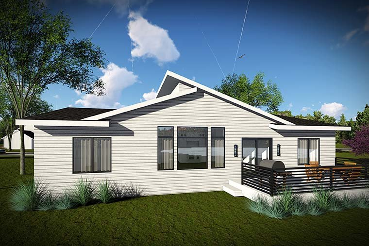 Contemporary, Modern, Ranch House Plan 75426 with 3 Beds, 2 Baths, 3 Car Garage Rear Elevation