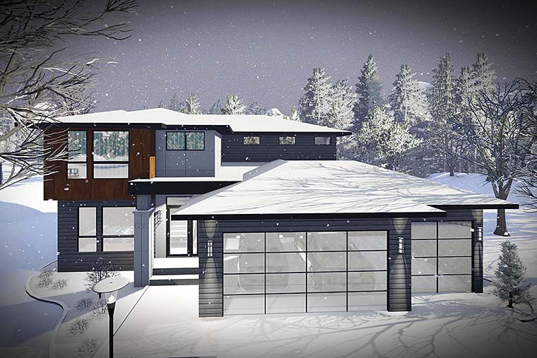 Contemporary, Modern House Plan 75437 with 3 Beds, 3 Baths, 2 Car Garage Elevation