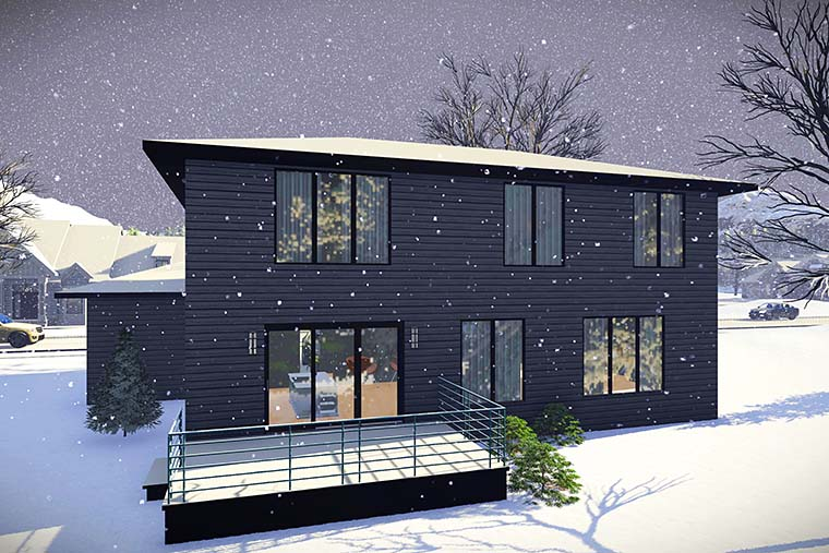 Contemporary, Modern House Plan 75437 with 3 Beds, 3 Baths, 2 Car Garage Rear Elevation