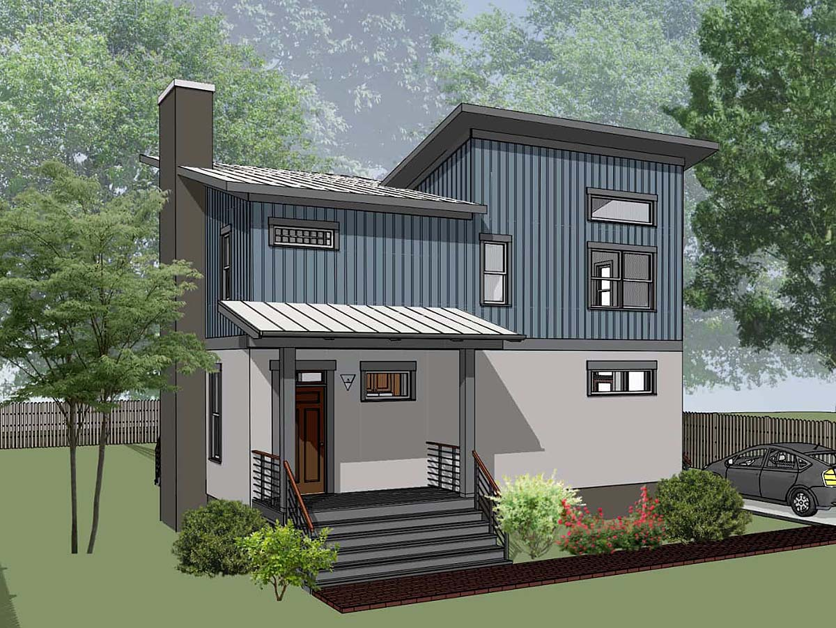 Bungalow, Contemporary, Modern House Plan 75567 with 3 Beds, 3 Baths Elevation