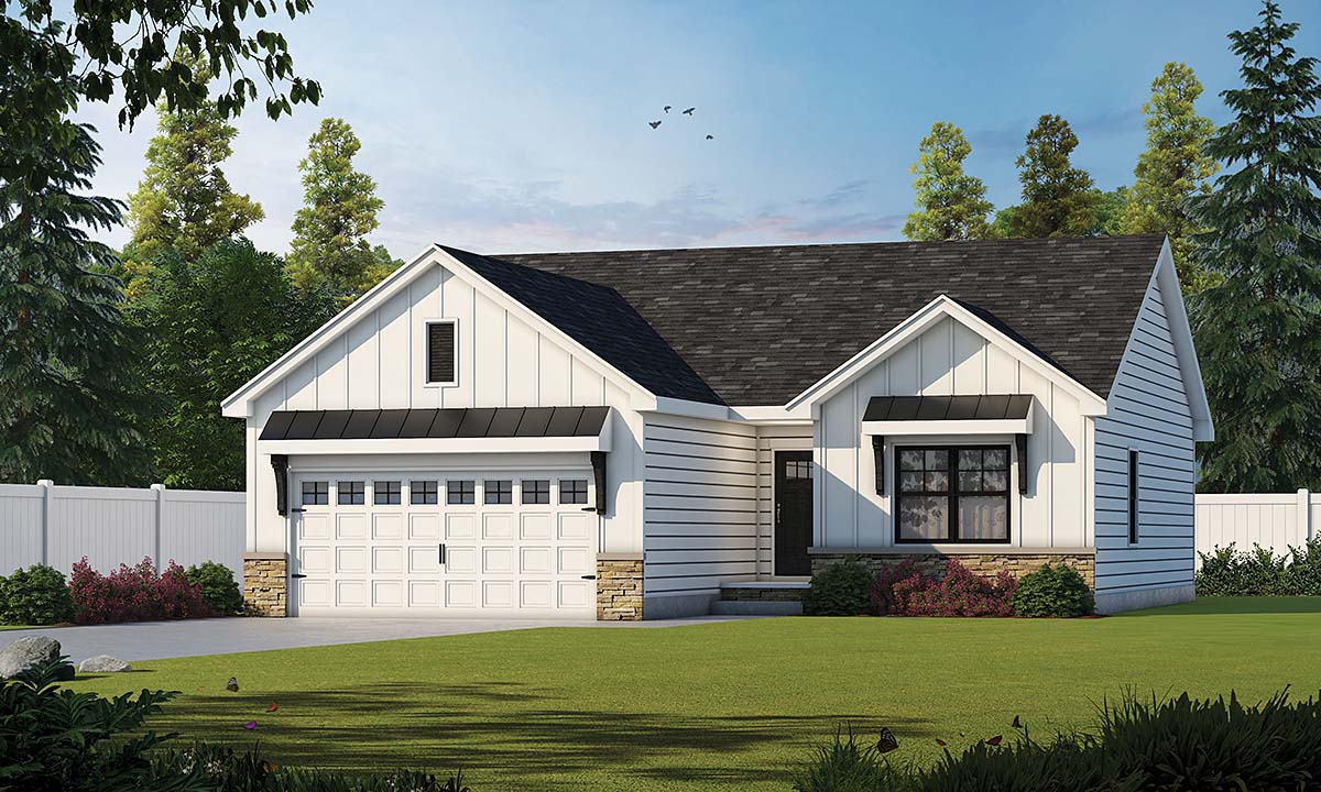 Craftsman, Narrow Lot, Traditional House Plan 75715 with 3 Beds, 2 Baths, 2 Car Garage Elevation